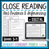 Winter Reading Comprehension Passages & Questions - Jan, Feb, March + Digital