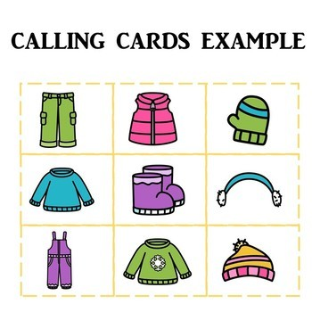 Preschool Winter Clothes Bingo Game