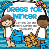 Winter Clothes Centers, Cut & Paste, Sorting, for Preschoo