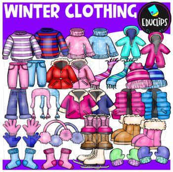 Winter Clothing Clip Art Bundle {Educlips Clipart}