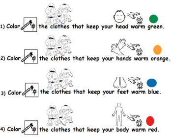 Winter Clothes Coloring Activity