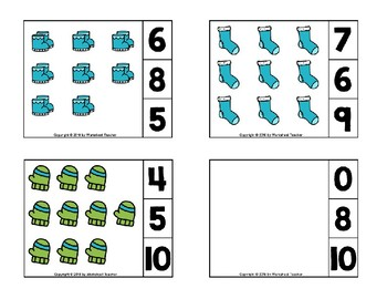 Winter Clothes Count and Clip Preschool Cards