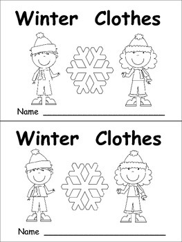 Winter Clothes Emergent Reader- Kindergarten- January Color Words