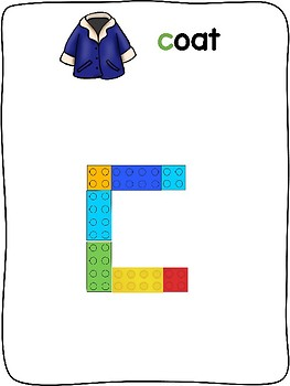Winter Clothes - English - Plastic building block activity mats