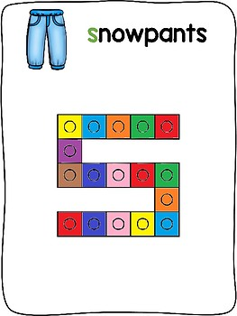Winter Clothes - English - Snap cube activity mats