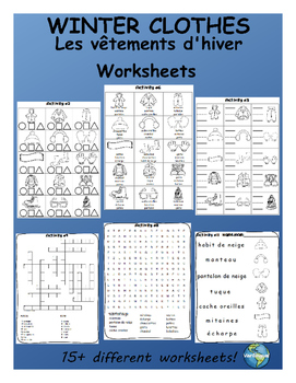 Winter Clothes FRENCH Worksheets
