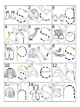 Winter Clothes - Letter Tracing mats (English)