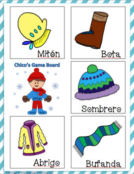 Winter Clothes Memory Game...Spanish Style!