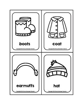 Winter Clothes Picture Word B&W Flash Cards