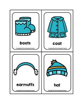 Winter Clothes Picture Word Flash Cards