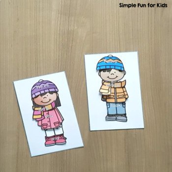 Winter Clothes Pre-Primer Sight Word Match