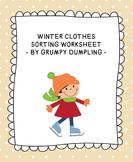 Winter Clothes Sorting Worksheet {FREEBIE}