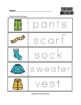 Winter Clothes Trace the Words Worksheets Preschool/Kindergarten