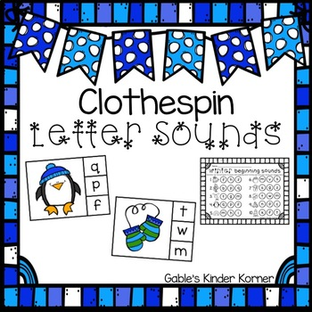 Winter Clothespin Letter Sounds Activity