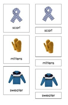 Winter Clothing (3 Part Montessori Cards)