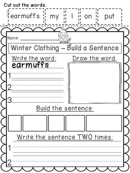 Winter Clothing & Body Part - Build a Sentence Pack