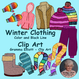 Winter Clothing Clip Art - Realistic - Mittens, scarf, hat, snow pants, jacket