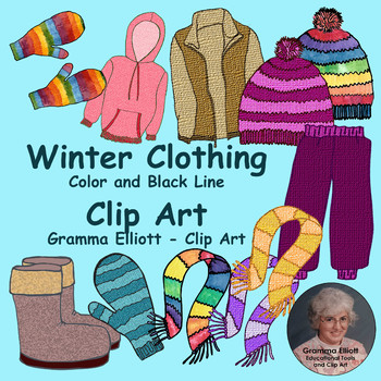 Winter Clothing Clip Art - Realistic - Mittens, scarf, hat