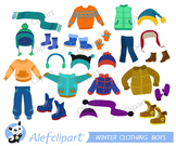 Winter Clothing Clipart Set for boys