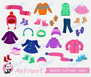 Winter Clothing Clipart Set for girls