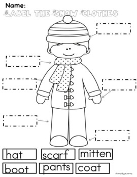 Winter Clothing Math and Literacy Unit for Preschool and Kindergarten