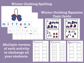 Winter Clothing Spelling and Addition Bundle