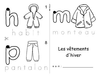 Winter Clothing / Vetements d'hiver FRENCH Workbook