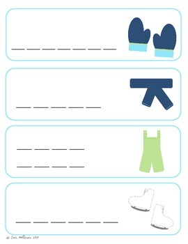 Winter Clothing Vocabulary Cards and Spelling Practice