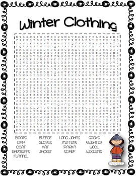Winter Clothing Vocabulary Word Search