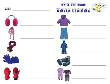 Winter Clothing - Write the Room Activity