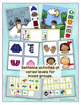 Winter Activities: Interactive Picture Book and Worksheets for Clothing, Actions