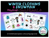 Winter Clothing and Snowman Smashmat- Preschool Speech Therapy Activity