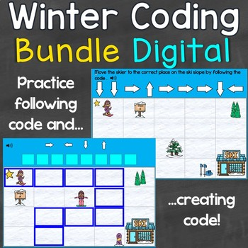 Winter Coding Practice Creating & Following Code Digital Boom Cards Bundle