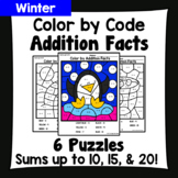 Winter Color By Addition Facts: Sums up to 10, 15, & 20
