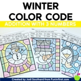 Winter Color By Code - Addition with 3 Numbers