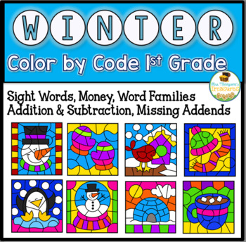 Winter Coloring Pages Color By Code First Grade by Mrs Thompson\'s ...