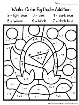Winter Coloring Pages Color By Code First Grade By Mrs