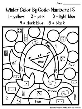 Winter Color By Code Kindergarten