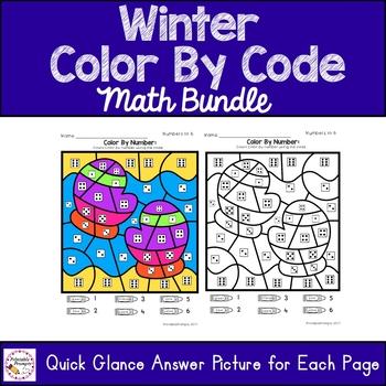 Winter Color By Code Math Bundle