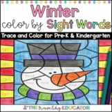 Winter Color By Sight Words for Pre-K and Kindergarten