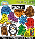 Winter Color By Code Shapes Clipart {Zip-A-Dee-Doo-Dah Designs}