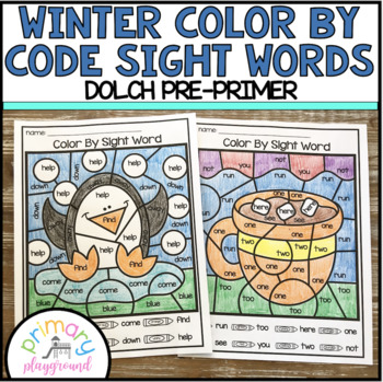 Winter Color By Code Sight Words Dolch Pre-Primer