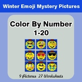 Winter Color By Number 1-20 | Winter Emoji Mystery Pictures
