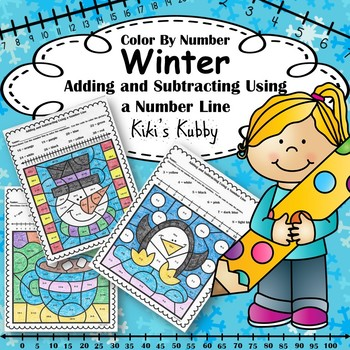 Winter: Color By Number Adding and Subtracting Using a Number Line