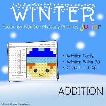 Winter Math Addition Worksheets (Facts, Within 20 and 2-digits)