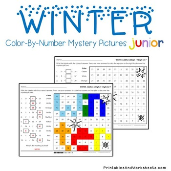 Adding Color By Number Winter Math Number Art (Facts, Within 20 And 2-Digits)