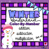 Winter Color By Number - Addition, Subtraction, and Multiplication