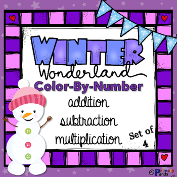 Winter Color By Number - Addition, Subtraction, and Multip