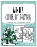 Winter Color By Number -- Addition and Subtraction