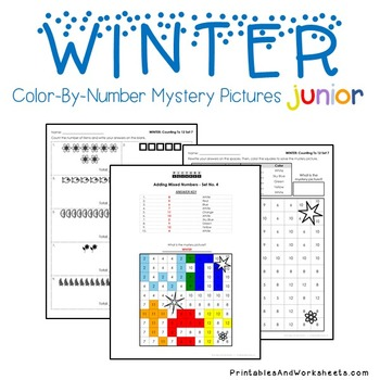 Winter Counting Worksheets, Comparing, Greater Than Less Coloring Sheets
